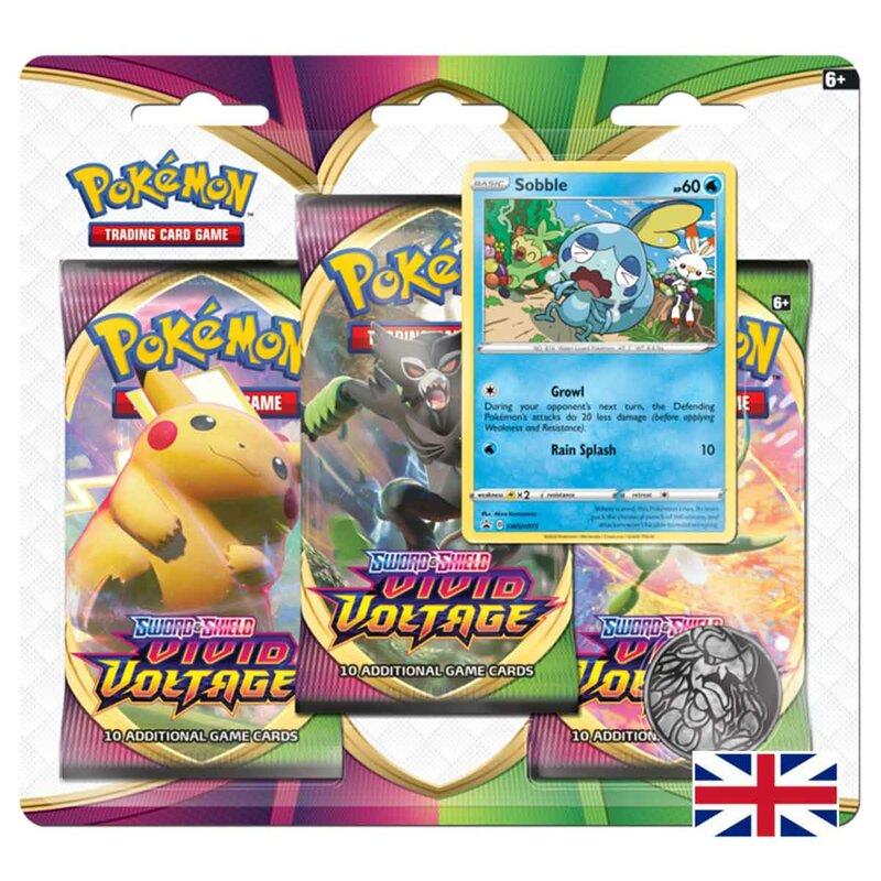 Pokemon Vivid Voltage 3er Pack Blister Sword & Shield Sobble