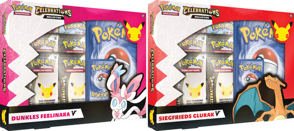 Pokemon Celebrations  V-Box Siegfrieds Glurak-V / Dunkles Feelinara-V 25th Anniversary VORBESTELLUNG